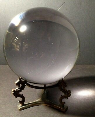 150 mm (6 inch) glass Crystal Ball with brass stand, beautiful!