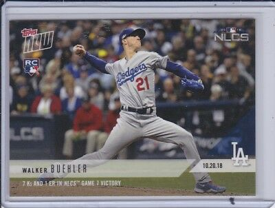 2018 Topps NOW MLB 920 Walker Buehler RC 7 Ks and 1 ER in NLCS Game 7 Victory