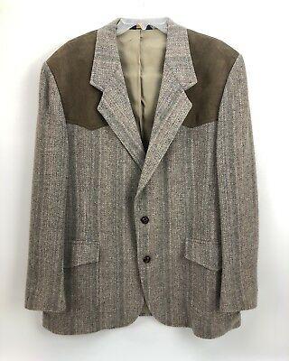 PENDELTON Western 100% Virgin Wool Leather Mens Jacket Sport Coat Blazer Sz 48 L
