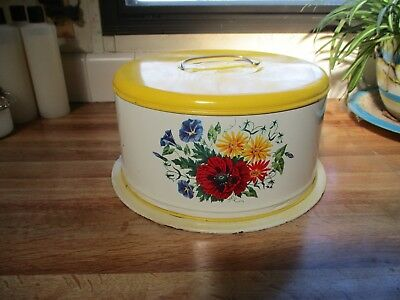 Vintage Enamel Decoware Tin Cake Carrier With Locking Cover