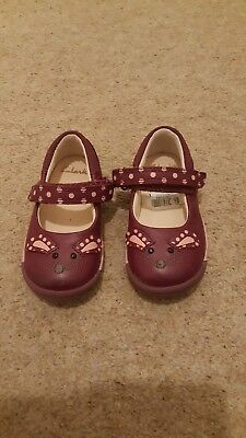 Clarks Plum Leather First Shoes 4f
