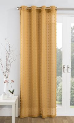 Mustard Gold Textured Geometric Pom Pom  Eyelet Thick Voile Net Curtain Panel/S