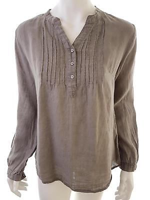 CLAIRE DK size 6 Sleeve blouse long linen 100% brown