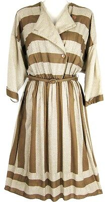 Vintage 1980s Dress Tan Brown Cream Button Front Belted L