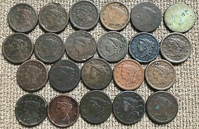 21 Mixed Date and Grade Large Cents plus one 'dug' Auctori 1787 CT Cent