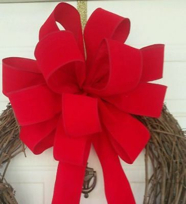 """15 """" X Large Red Velvet Bows Christmas  For Wreath Wired Edge Ribbon Topper Swag"""