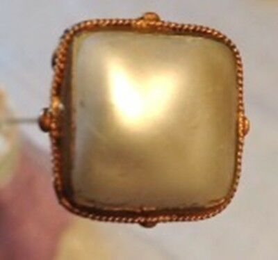 Victorian / Edwardian Gold Metal Filigree Top Hatpin set with Square Pearl