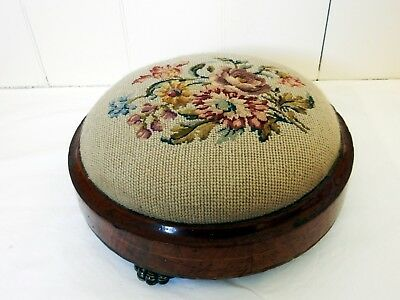 Beautiful Antique Victorian Mahogany Timber Tapestry Fabric Foot Stool Footstool