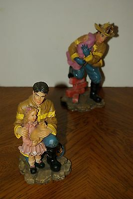 2 VTG LIFELIKE FIRE FIGHTER FIREMAN IN GEAR Child in Arms STATUE FIGURINE GIFT