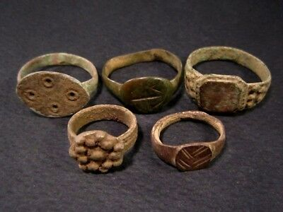LOT of 5 pcs. ANCIENT ROMAN, BYZANTINE AND MEDIEVAL FINGER RINGS+++