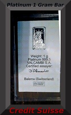 Platinum 1 Gram 999.5 Credit Suisse Bar Sealed-Certified, Investment Collectible