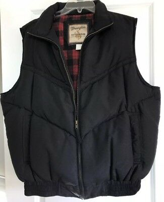 WRANGLER OUTERWEAR PUFFER DOWN VEST Black MEN'S L Red Plaid Flannel Lining NICE!