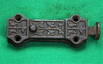 "Antique Cast Iron Victorian Eastlake Style Spring Loaded Door Latch Lock 6""  ^12"