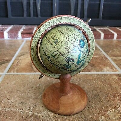 VINTAGE SMALL MINI ROTATING WORLD GLOBE,  WOODEN BASE MADE ITALY, looks Antique!