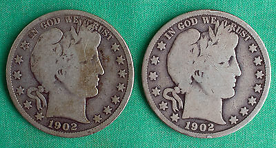 Two Coin Lot 1902 P and S Barber Silver Half Dollar 50c 2 US Type Coins Silver