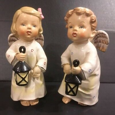 VTG Pair Christmas ANGELS with Lanterns Japan 6 1/4""