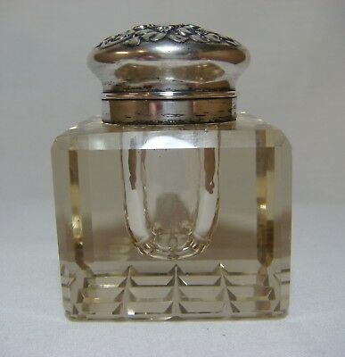 "ANTIQUE *GORHAM* INKWELL ""CHAMPAGNE"" CRYSTAL w/ STERLING SILVER HINGED LID"