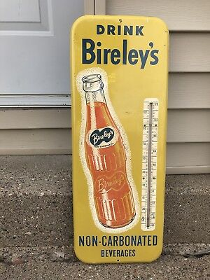 Vintage 1940's Birleys Orange Soda Non Carbonated Thermometer Sign 26""