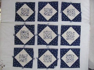 "Lot of 9 mini QUILT BLOCKS 4.5"" sq  BLUE and WHITE Antique? MINIATURES CRAFTS"