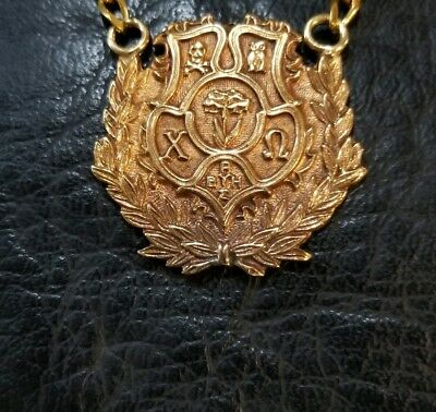 CHI OMEGA SORORITY crest necklace 14k Gold w/chain