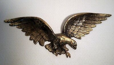 """Vintage Cast Metal Brass Color Eagle Wall Mount 25"""" Wing Span"""