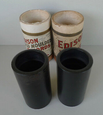Lot of 2 Edison brown wax record cylinders 2802 Frank Mazziotta? 3893