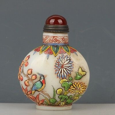 China Exquisite Handmade Flower and bird pattern Glass snuff bottle