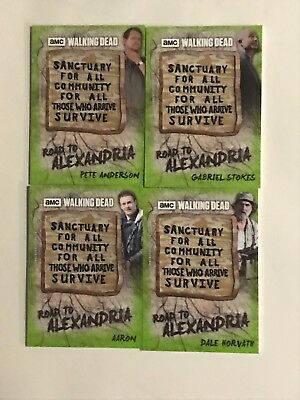Lot 4 2018 Walking Dead Road Alexandria Sanctuary Sign Patch Cards Mold /25