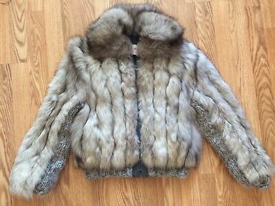Vintage 70s 80s Gray Silver Fox Fur Coat Bomber Jacket sweater knit trim
