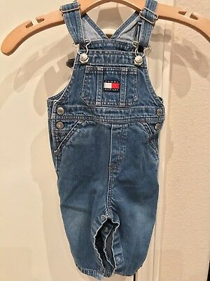 dfd45689 Tommy Hilfiger Denim Jeans Blue Overalls Big Logo Toddler Infant 6M-12M  Months