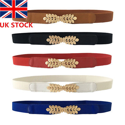 Womens Ladies Gold  Leaves Metal Belt Elastic Skinny Slim Waist Band uk