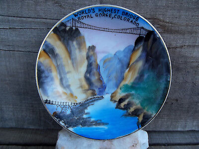 Vintage Hand Painted in Japan Saucer Royal Gorge Bridge Colo Souviner