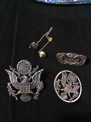 Vintage military lot WW2 US eagle hat medals + pins 10K lot #3