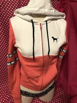 9b40b59e6 VICTORIA'S SECRET LOVE Pink Hoodie Full Zip Hood Logo Stripe Jacket ...