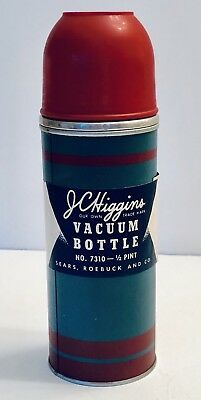 Sears Vacuum Silver Glass Lined Thermal Bottle, circa 1950s - With Label