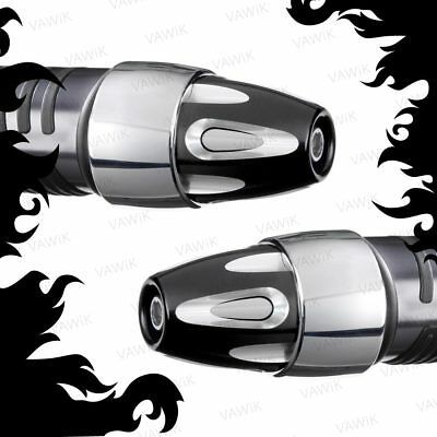 VAWiK bar end Bullet silver black stainless heavy base for Piaggio BV 500 X9 500