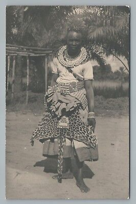 CONGOLESE WITCH DOCTOR RPPC Rare Vintage Occult Ethnic Real Photo CONGO  Postcard