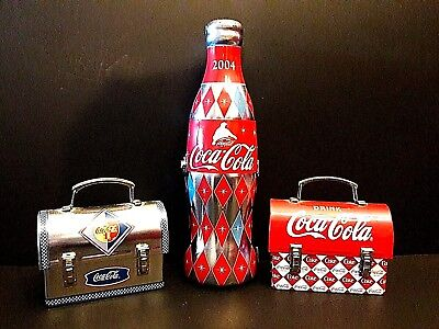 Coca-Cola cocacola metal Tins coke bottle lunchbox advertising  lot of 3