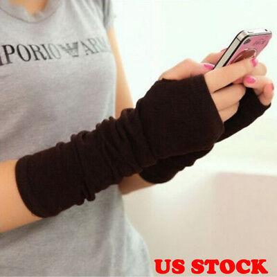 Women Long Arm Warmer Fingerless Sleeves Stretchy Protection Gloves Mittens Blac