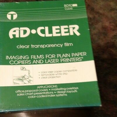 AD CLEER Clear Transparency Film 8.5 x 11 Inches Clear 100 Sheets New 8010 clear