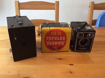 Lot Of 3 Vintage Kodak Brownie Cameras; Six-20; 2A Model C; Antique Box Cameras