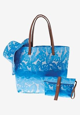 Beach Set Women's Tropical Blue Ombre Tote bag with matching pouch and hat