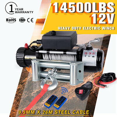 14500LBS 12V Electric Winch Remote Offroad 4WD Truck 26M Steel Cable VS 12000LBS