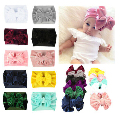 Baby Girls Toddler Newborn Velvet Big Headband Headwear Hair Bow Accessories GH