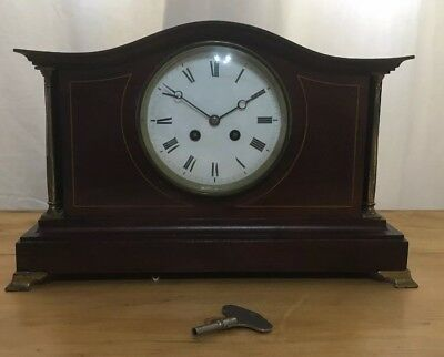 Edwardian Inlaid Mahogany Cased Mantel Clock with Brass Detail For Restoration