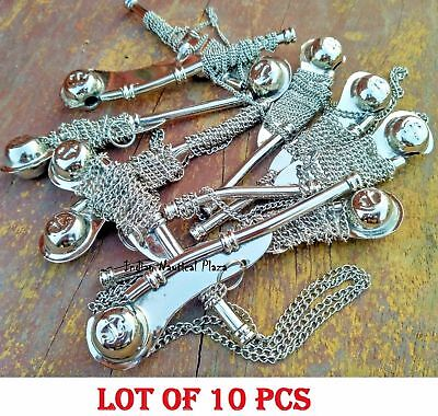 "Lot of 10 pcs 5"" Brass Bosun's Whistle w Chain Bosun Call Pipe chrome finish"