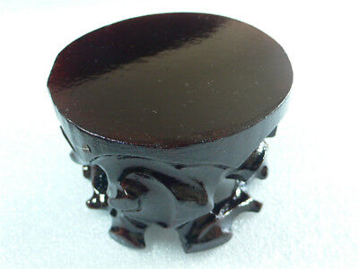 CHINESE HARD Black WOOD NICE CARVED BONSAI POT/VASE ARTCRAFT Round STAND  90mm