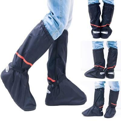 Black Waterproof Rain Boot Shoe Cover with Reflector Anti-slip Motorcycle  New