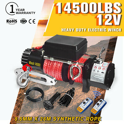 Wireless 12V Electric Winch 14500lbs Synthetic Rope 4WD ATV 12Volt vs 13000lbs