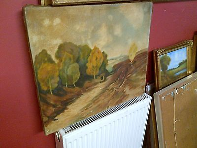 Fine Late 19th c,French Oil on Canvas. Landscape and Old Caravan View. Signed.